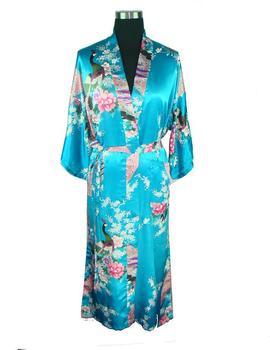 Светло синий Женщины's Robe Шелк Полиэстер Kimono Bath Gown Peafowl Размер S ...