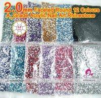 Free Shipping-21 colours available 2.0mm Flat Back Round Nail Rhinestones 240000pcs Acrylic Nail Art Rhinestones