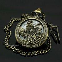S190 - Eagle, Fashion gift White Dial Quartz Antique Luxury men Pocket watch + Chain