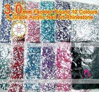 Free Shipping- 3.0mm Acrylic Nail Art Rhinestones 120000pcs Flat Back Faceted Round Nail Rhinestones( 21 colors available )