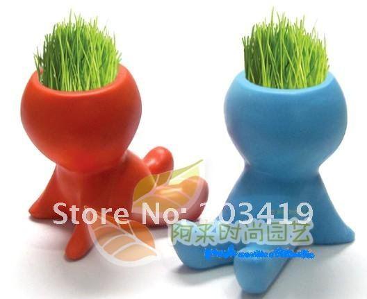 Colourful cartoon Hair man baby Plant Bonsai Grass Doll Office Mini Plant Fantastic Home Decor pot+seeds CN post(China (Mainland))