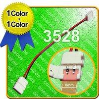 Wholesale 10PCS / LOT 10  8MM Snap Down 3528 Single Color LED Strip PCB Connector w 14MM Cable