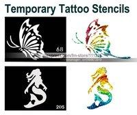 50pcs- Temporary Tattoo Stencils/Templates - Mixed designs - Airbrush / Glitter Tattoo / Body Painting - Body Art -Free Shipping