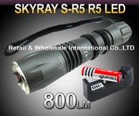 FREE SHIPPING,5PCS/LOT SKYRAY S-R5 Cree R5 800Lumens 5-Mode LED Flashlight Torch+3000mah 3.7V 18650 Battery+AC Charger
