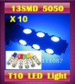 10 X T10 13 SMD 5050 W5W  13 led indicator Light  Wedge lamp signal/corner/parking/tail light - High quality -mix color allowed