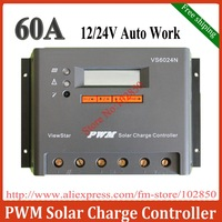Free Shipping 60A,12/24V auto work,Adjustable/programable off-grid solar system charge controller/regulator VS6024N with big LCD