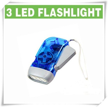 3 LED Dynamo Wind up Flashlight NR Torch Light Camping BLUE LY-6100