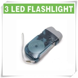 3 LED Dynamo Wind up Flashlight NR Torch Light Camping GRAY LY-6103(China (Mainland))