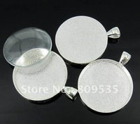 Free Shipping 50pcs Silver Plated Round Cameo Frame Settings Pendants Pad 30mm