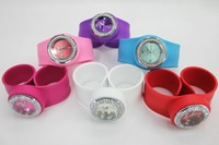 50pcs/lot free shipping high quality Wholesale price Silicone rhinestone slap watch color12numbers slap watch opp bag packaging