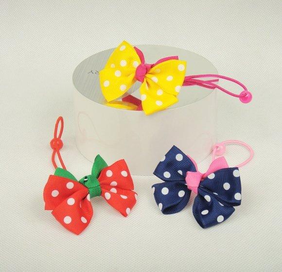 Freeshipping! Fashion Korean Style/Kids/Girls/Princess Colorful Bow Elastic Hair bands/Dots Hairtie/Hair Accessories/Wholesale(China (Mainland))