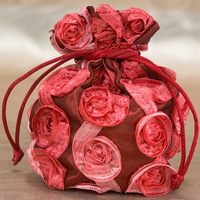 Multi-Colored Raised Rose Embroidered Favor Pouches (Set of 60) Candy Gifts Chocolate Bags Free Shipping For Wedding Party