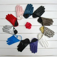 Retail Women Sexy City Colorful  PU Leather Half Palm Gloves (SE-51)