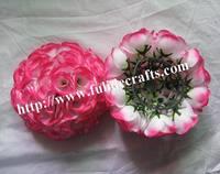 25cm baby-pink rose wedding plastic center flower ball decoration,kissing flower ball decoration