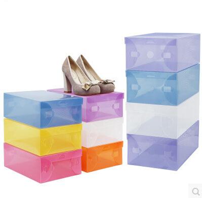 10PCS Thicken Crystal transparent Clear Shoe Boxes Shoes Storage BOXES Plastic PP Storage Box MIX Color Choose(China (Mainland))