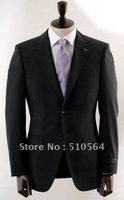 Free shipping  Italian high quality 160's worsted 100% pure Wool suit Men Formal Business suit two button black Suit