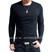 Free Shipping Fashionable O-Neck Long Sleeve 100%Cotton men's T-shirt(Black,White,Army Green,DK Blue,DK grey,LT grey)