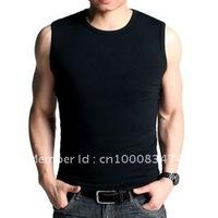 Free Shipping multicolor High Elasticity men's T-shirt O-Neck slim Sleeveless100%Cotton T-shirt