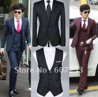 Hot Sell Fashion Men's Suit One Button suit blazer Style Slim &Fit business suits(jacket+pant) M-XXXL