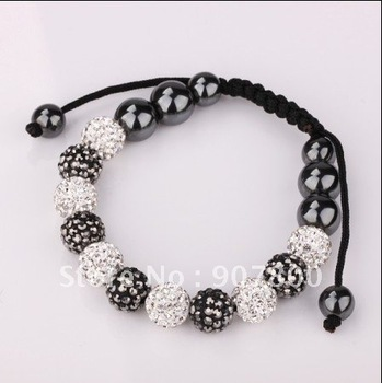 Factory price!Hand-woven 10MM crystal disco ball the Shamballa charm bracelet free shipping 10pcs/lot