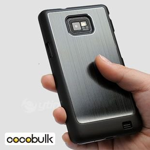 50pcs DHL FREE SHIPPING Luxury Brushed Metal Aluminum Rubberized Hard Back Case Cover for samsung galaxy s ii s2 nexus droid