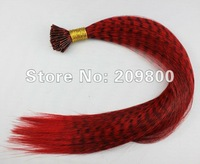 16''  100strands  Grizzly Stick tipped Feather Hair extensions synthetic hair , #red