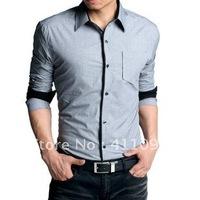 Free Shipping Swallow Gird Fashion Slim Men's Shirt Long Sleeve 100%Cotton shirt 1pcs (DK grey,Grey,LT grey)