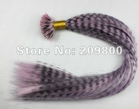 16''  100strands  Grizzly Stick tipped Feather Hair extensions synthetic hair , #light pink