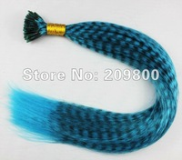 16''  100strands  Grizzly Stick tipped Feather Hair extensions synthetic hair , #sky blue