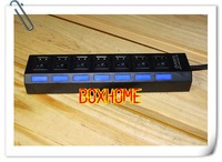 Free EMS With light Hot sell popular design 7 ports USB HUB with separate switch and light, good prices