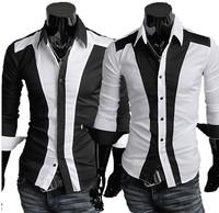 Free shipping!2013 Spring Perfect Patchwork Men Slim Long-sleeve Shirt,block Mens shirt,Mens Dress Shits