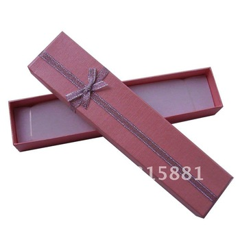 Pink Jewelry Boxes, cardboard, for necklace, pink, miracle cloud pattern, ribbon knot decoration, 4x20x2cm