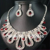 High Quality Red Crystal Stone Silver Plated Promotion Fashion Wedding Bridal Jewelry Set
