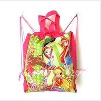 "Winx Club Design Non-woven Material Kids/Children Cute/Cartoon Drawstring Backpack Bag With Handle 15""X11""X3.2"", 8 pcs/lot"