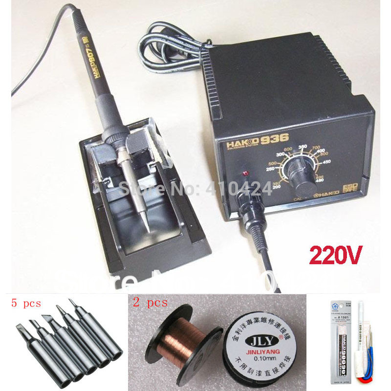 220V HAKKO 936 Soldering Station 907 soldering handle + 5pcs free tips + 2pcs Welding line+ 1pcs A1321 Ceramic Heater(China (Mainland))