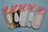 Min Order $20 (mixed order) Retail Ladies Fashion Cotton Lace Invisible Silk Socks / No Show 5 Color (SM-13)