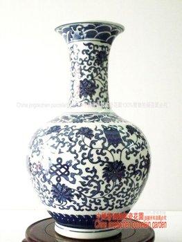 Free shipping.Chinese porcelain.Wedding decoration.Antique Imitation Qing Dynasty Emperor Qianlong blue and white porcelain vase