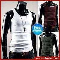 [Free Shipping] Wholesale and Retail Man's Cheap Fashion Cotton Vest / T-shirt 5pcs=25.88USD