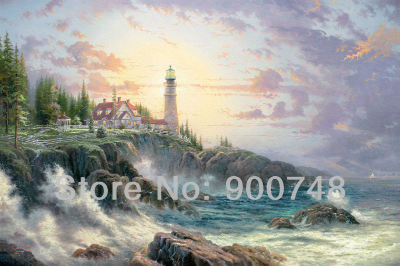 Thomas kinkade Original oil painting ( Clearing Storms ) Art print on canvas wall art home decor seacape painting Free shipping(China (Mainland))