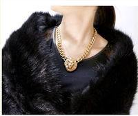 Min order is $ 10 mixed! 2013 New Arrival gold lion head choker chain necklace fashion gold pendants Ideal for gift
