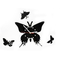 30% off  wall clock decorative black and red for choose butterfly clock