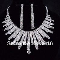 Free Shipping High Quality Clear Crystal Silver Plated Fashion New Design Rhinestone Bridal Jewelry Set