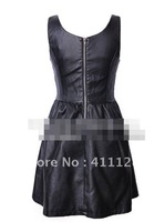 Waist and imitation leather Horn dress Women's PU dress
