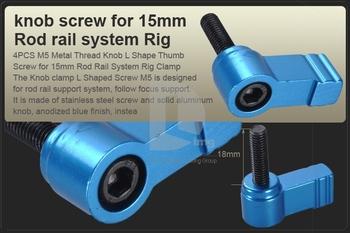 4x M5 Knob Tópico L Forma Screw Thumb para 15 milímetros Rod Suporte Rail Rig Grampo DSLR PK052A frete grátis