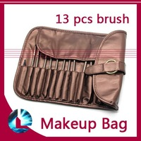 13 Pcs Pro Cosmetic Eyeshadow Powder Blush Makeup Brush Set +Wallet Pouch Bag Leather Case Bronze Tone