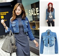 Free Shipping Hotsale! Korea Fashion Collar Denim Short Jackets, Leisure Outers for Women, women jacket, Tops, AD9408JJ