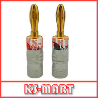500pcs/lot DHL free shipping Nakamichi Banana Plug Gold Plated Speaker Connector 45.5MM*4.5MM KM2061