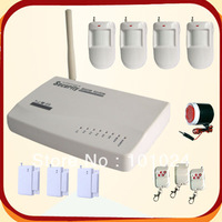 Free shipping 1kit/lot Hot sale 4 wireless motion sensor and 3 door contact Wireless GSM Home Alarm System (LS-GSM-004)