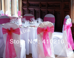 Fuchsia color Organza chair sash\Chair bow Wholesale price Free shipping...(China (Mainland))