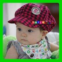 SMILE MARKET Children hat wholesale The owl grid BaJiaoMao children spring cap